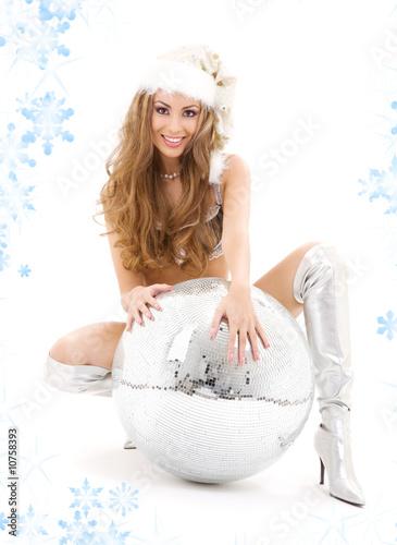 santa helper with big disco ball