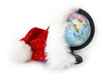 World globe and Santa Claus hat