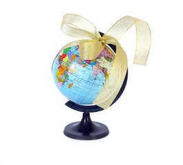 World globe and golden ribbon