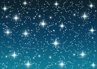 Shining stars on blue sky