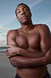 Cold shirtless man poster