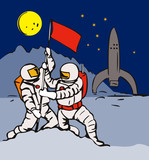 Astronaut planting flag in the moon base poster
