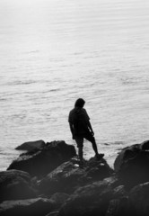 silhouette of a hiker