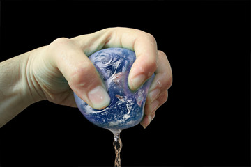 Planet earth squeezed and squashed