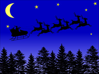 Santa Claus in the sky