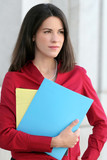 Business Woman with Folders, Worried, Concerned poster