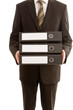 Business man holding three folders