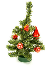 Nice small Christmas tree with red decoration