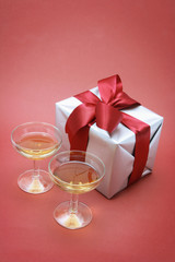 Wine Glasses and Gift Parcel