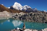 Picturesque nepalese landscape with a lake and Arakam Tse 6423m poster