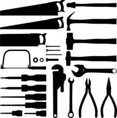Hand tool silhouettes
