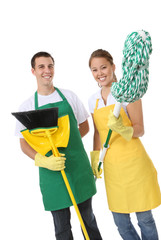 Attractive Cleaning Man and Woman