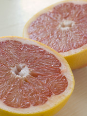 Halved Pink Grapefruit