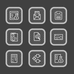 Metal web icons, set 14