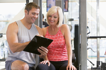 Personal Trainer, Gym, Pull Down Machine, Exercising, Assistance