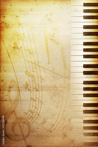 Leinwanddruck Bild old piano paper