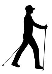 silhouette nordic walking