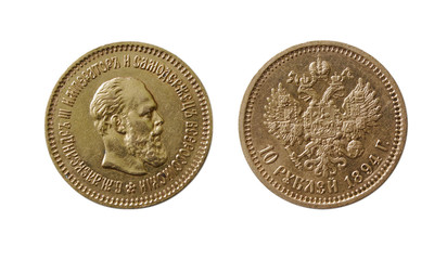 ancient gold coin isolated on white (10 roubles of 1894)