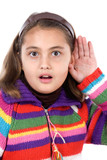 Adorable girl hearing poster