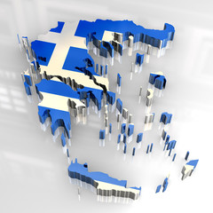 3d flag map of greece