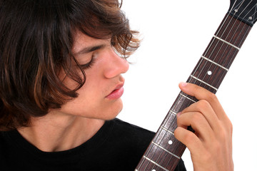 Teen Boy with Electric Guitar