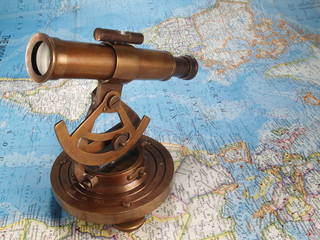 Sextant on world map