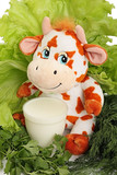Cow with milk and greenery. poster