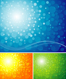 Three different colors of blur radiance background. poster