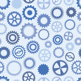 Seamless, Repeating Blue Cog Background poster
