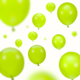 Background of green party balloons