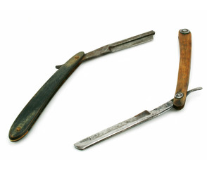 Two wooden cutthroat razors