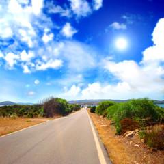 Straight route in a mediterranean landscape
