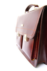 business briefcase on white background