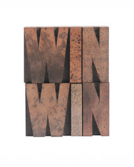 win win in old ink-stained wood type