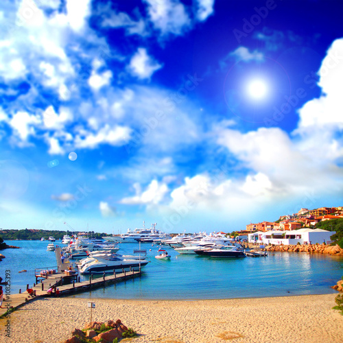 Beach with boats relaxing landscape