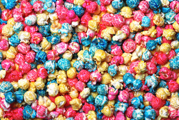 Colorful candy popcorn making a background