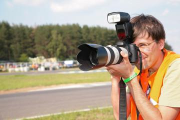 Photographer on race, focus on lense