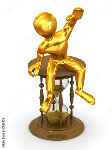 Man sitting on hourglass