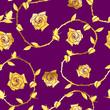 Gold on Purple seamless rose sari pattern
