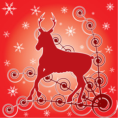 Deer and winter background with ornament and snowflakes.