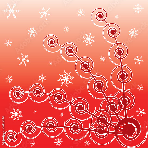 Abstract winter background with ornament and snowflakes.