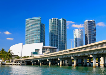 The high-rise buildings in downtown Miami