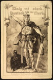 The old postcard with picture of eagle and German. knight...