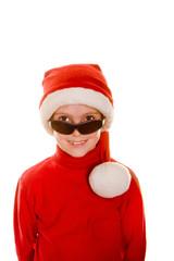 Boy in Santa Hat and Sunglasses
