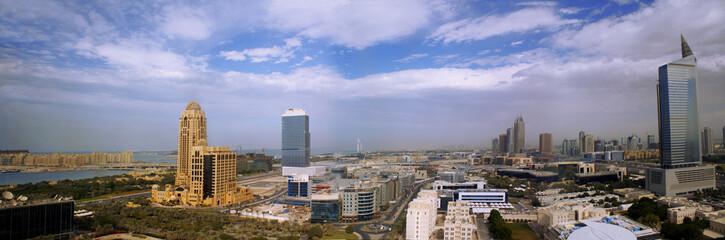 aerial shot of modern dubai panoramic, united arab emirates