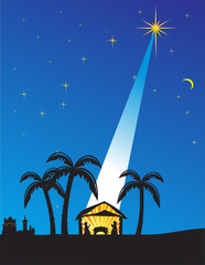 Christmas nativity scene. Vector illustration