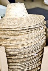 Stack of gardening hats