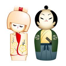 Geisha i Samurai indywidualnie zaprojektowanych Kokeshi-lalek