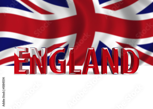 3D Shiny England text with Union Jack