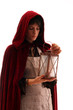 girl in red cloak with a lantern, isolated on white
